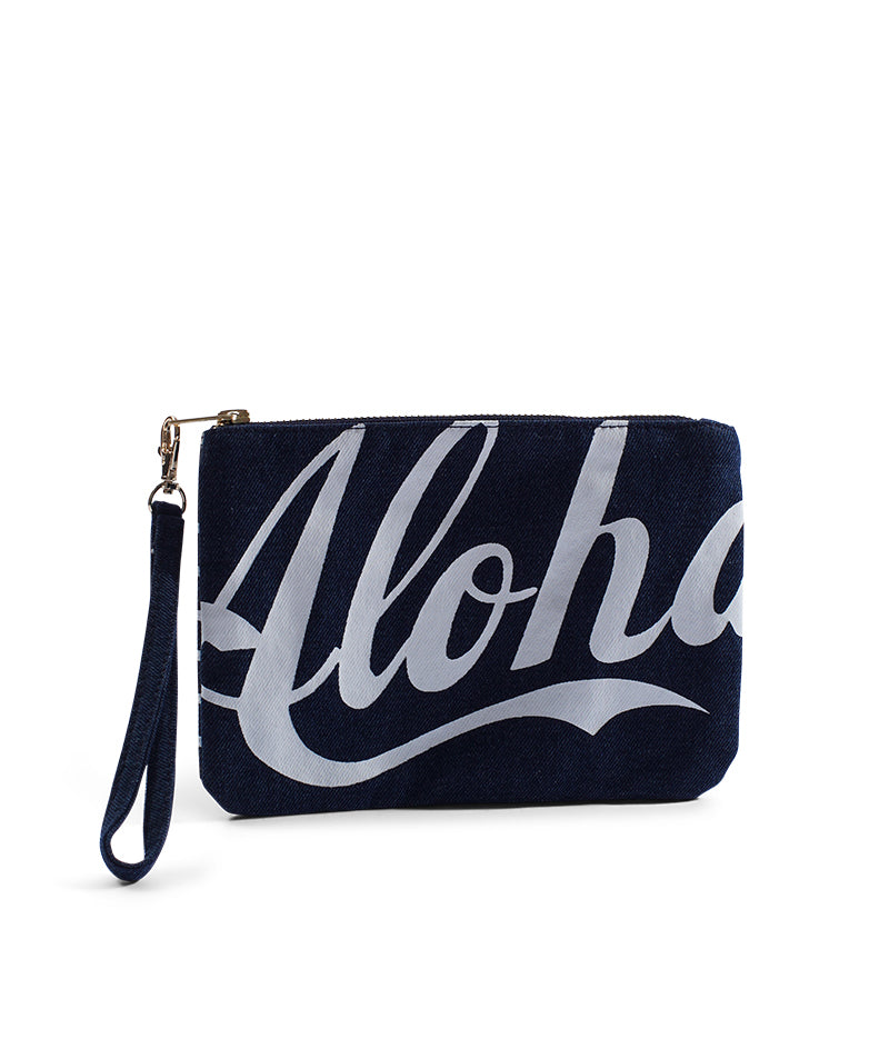 "Cameron Hawaii - Denim Small Clutch ""Aloha / Stripe"" - Dark"