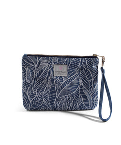 "Cameron Hawaii - Denim Small Clutch ""Banana Leaf"" - Light"