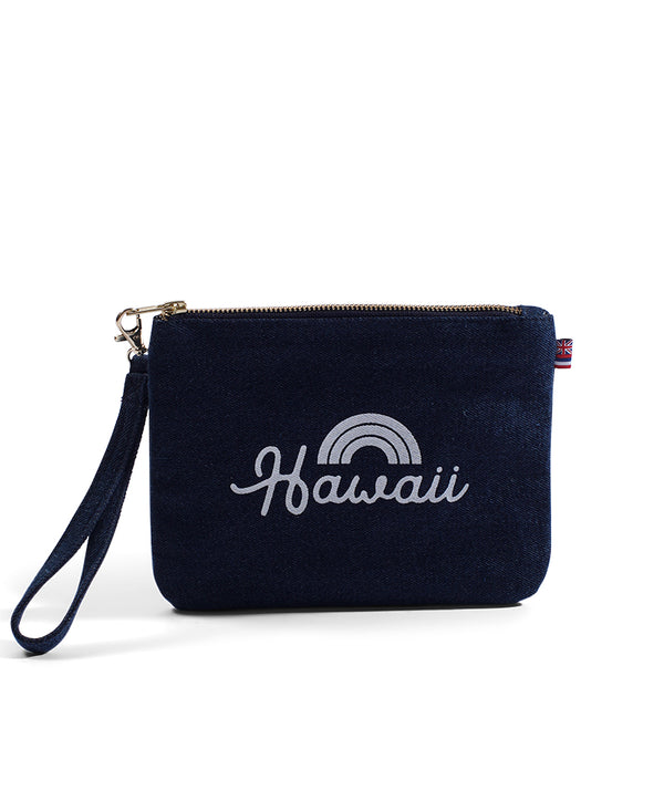 Bows For Hawaii - Small Clutch- Dark Wash Denim