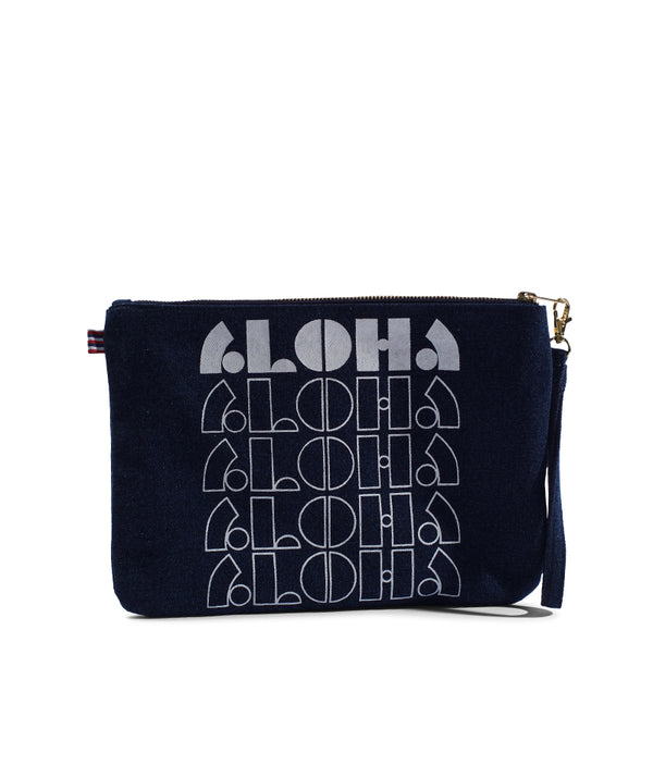 Loco Aloha - Large Clutch- Dark Wash Denim