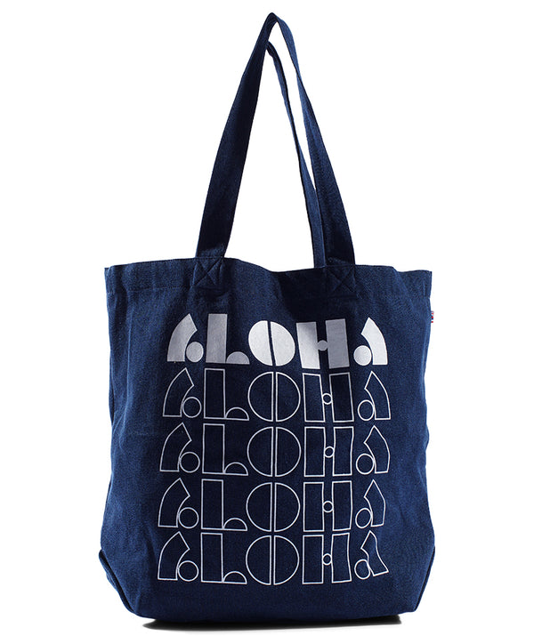 LOCO ALOHA - Beach Bag -Dark Wash Denim