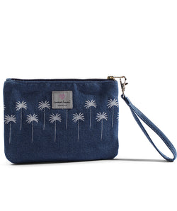 "Cameron Hawaii - Denim Small Clutch ""Coco Palm / Coco Tree Stripe"" - Light"