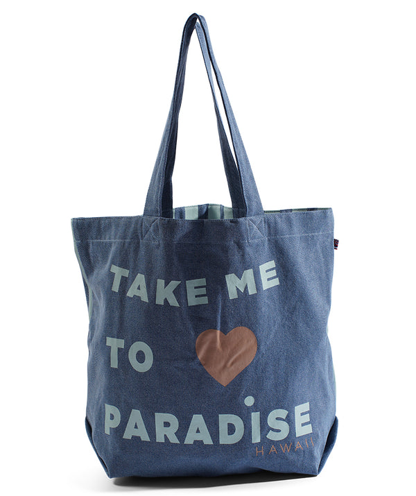 Take Me To Paradise Beach Bag - Light Wash Denim