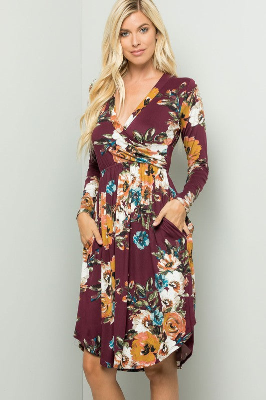 Fall Into Floral Dress with Pockets!