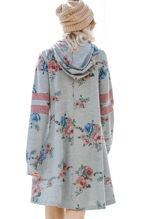 Varsity Floral Hoodie Dress WITH POCKETS!!!