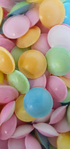 Vegan & Gluten Free (GF) bag of sherbet filled retro Flying Saucers sweets.