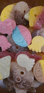 BUBS vegan and gluten free sweets mixed bag including Rombs, Ovals and sour octopus sweets
