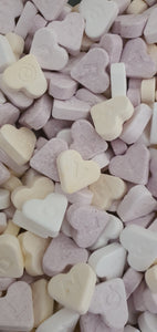 Kingsway Fruit Hearts. Heart shaped candy Love Hearts style vegan sweets, each with a letter of the alphabet on