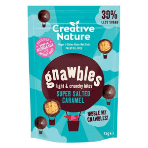 Creative Nature Super Salted Caramel Gnawbles vegan, GF, palm oil free malty chocolate balls