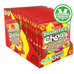 Swizzels vegan/vegetarian, gluten free (GF) Drumstick Choos 135g fruit flavoured chewy sweets bag