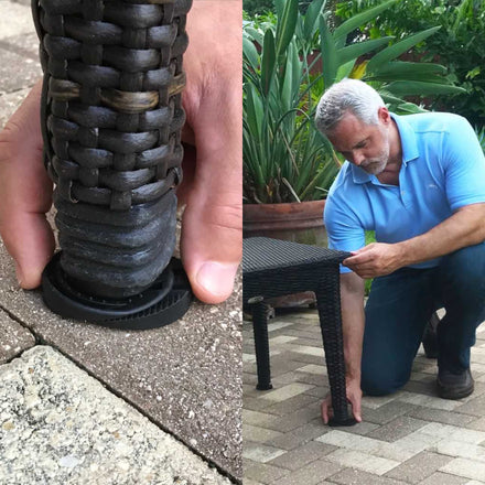 The Wedgy™ leveling shim instantly fixes wobbly restaurant tables, stabilizes patio furniture, stops rattling appliances, levels shelves in the garage and stops the wobbling desk at the office and more