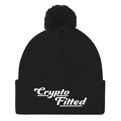 Crypto Fitted Pom Pom Knit Cap - Crypto Fits