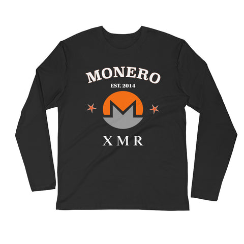 Monero XMR Men's Long Sleeve Fitted Crew ( 2nd color combo ) - Crypto Fits