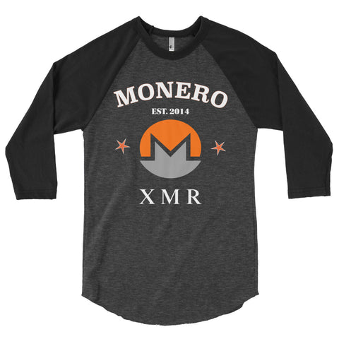 Monero XMR Men's 3/4 sleeve raglan shirt - Crypto Fits
