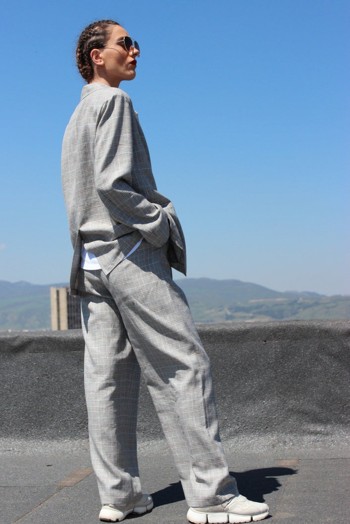 Sustainable linen check high waist trousers