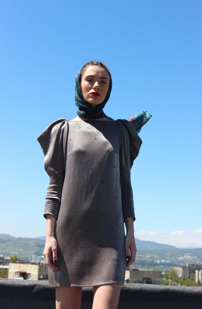 Sustainable & ethically made puff sleeve metallic dress