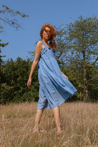 Blue gathered dress