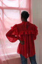 Load image into Gallery viewer, Sustainable & ethically made red chiffon ruffle top