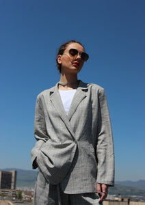 Sustainable linen double breasted oversized check blazer
