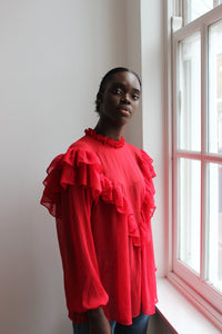 Sustainable & ethically made red chiffon ruffle top