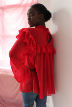 Load image into Gallery viewer, Sustainable & ethically made red chiffon ruffle blouse