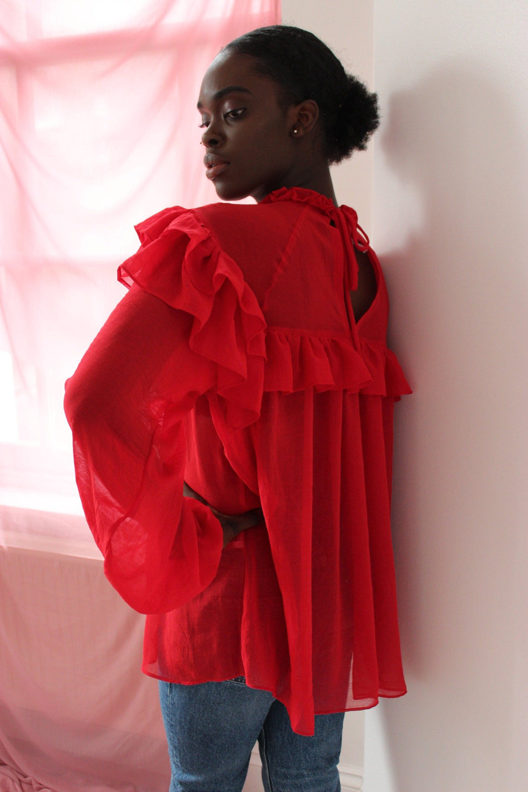 Sustainable & ethically made red chiffon ruffle blouse