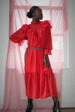 Load image into Gallery viewer, Sustainable & ethically made red chiffon ruffle dress