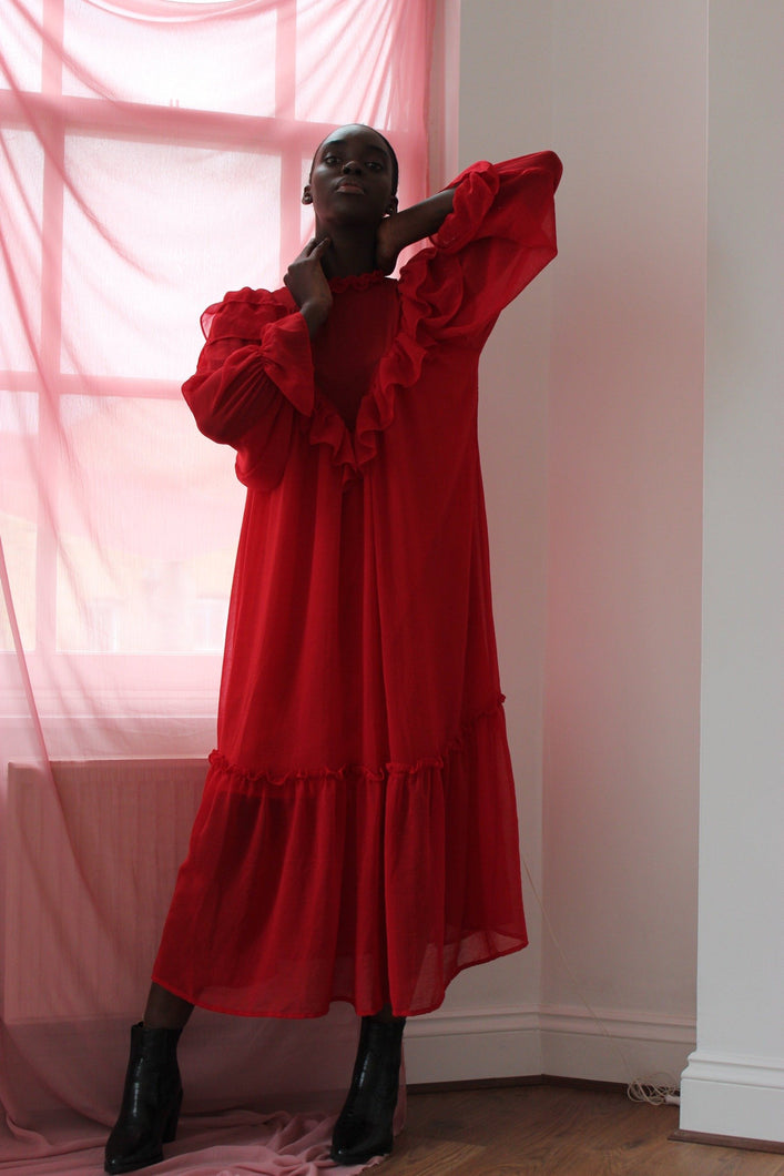 Red chiffon ruffle midi dress
