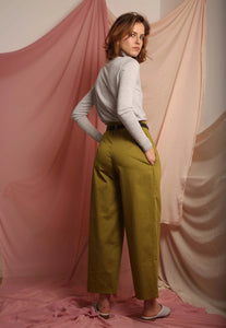 Cotton khaki high waist trousers
