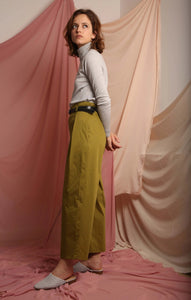 Cotton khaki handmade trousers