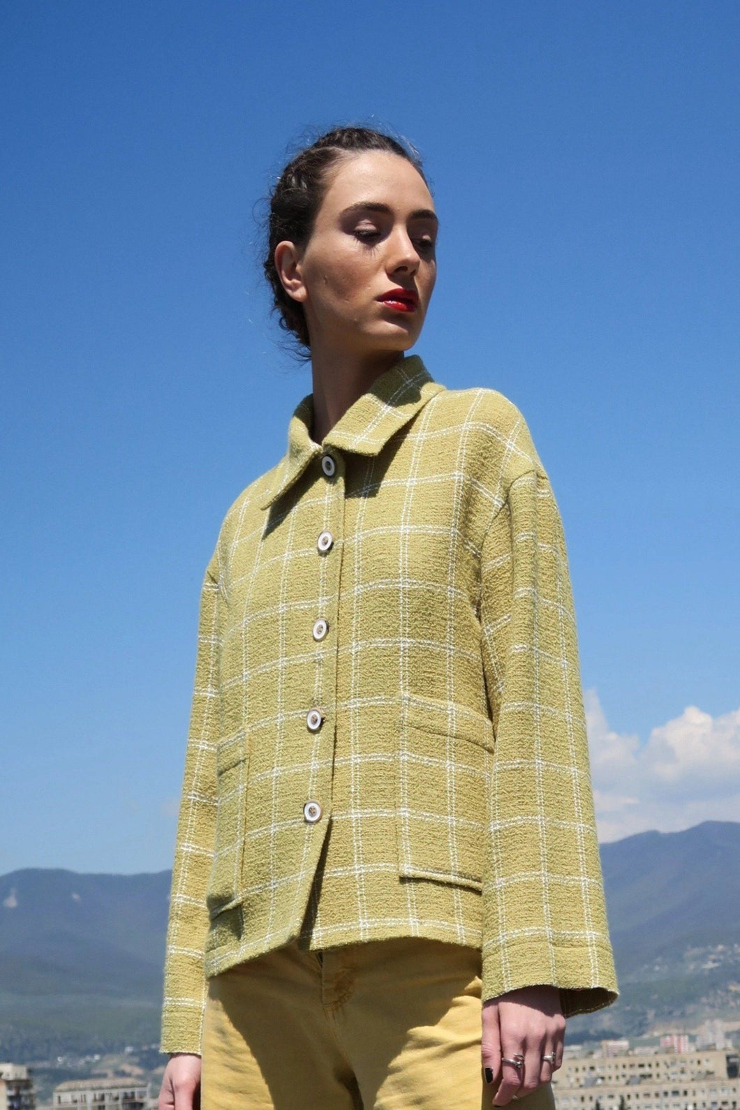 Sustainable & ethically made wool check jacket