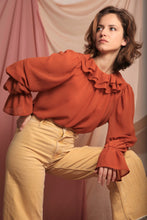 Load image into Gallery viewer, Sustainable & ethically made ruffle neck blouse