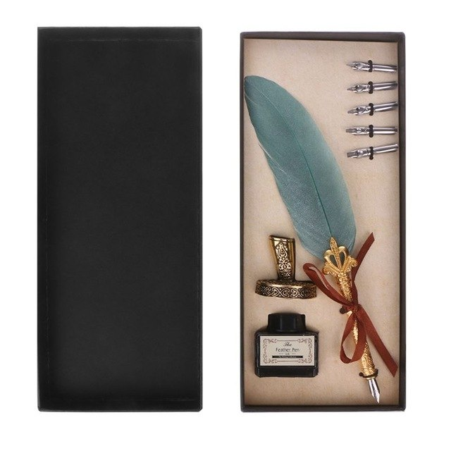 Vintage Calligraphy Feather Quill Dip Pen with Ink +5 Nibs Gift Set - KAYILAR PAZAR