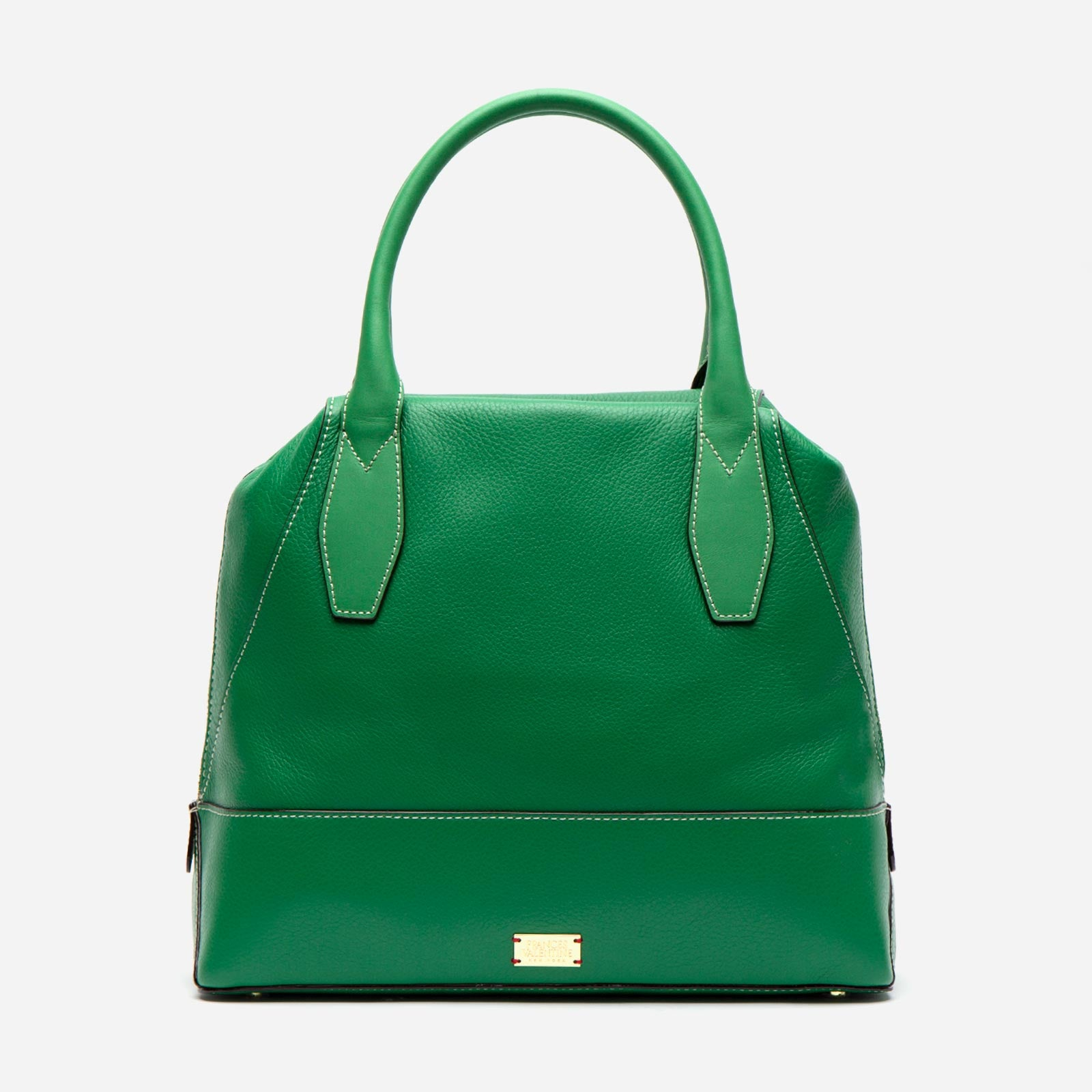 Abby Tote Tumbled Leather Green - Frances Valentine