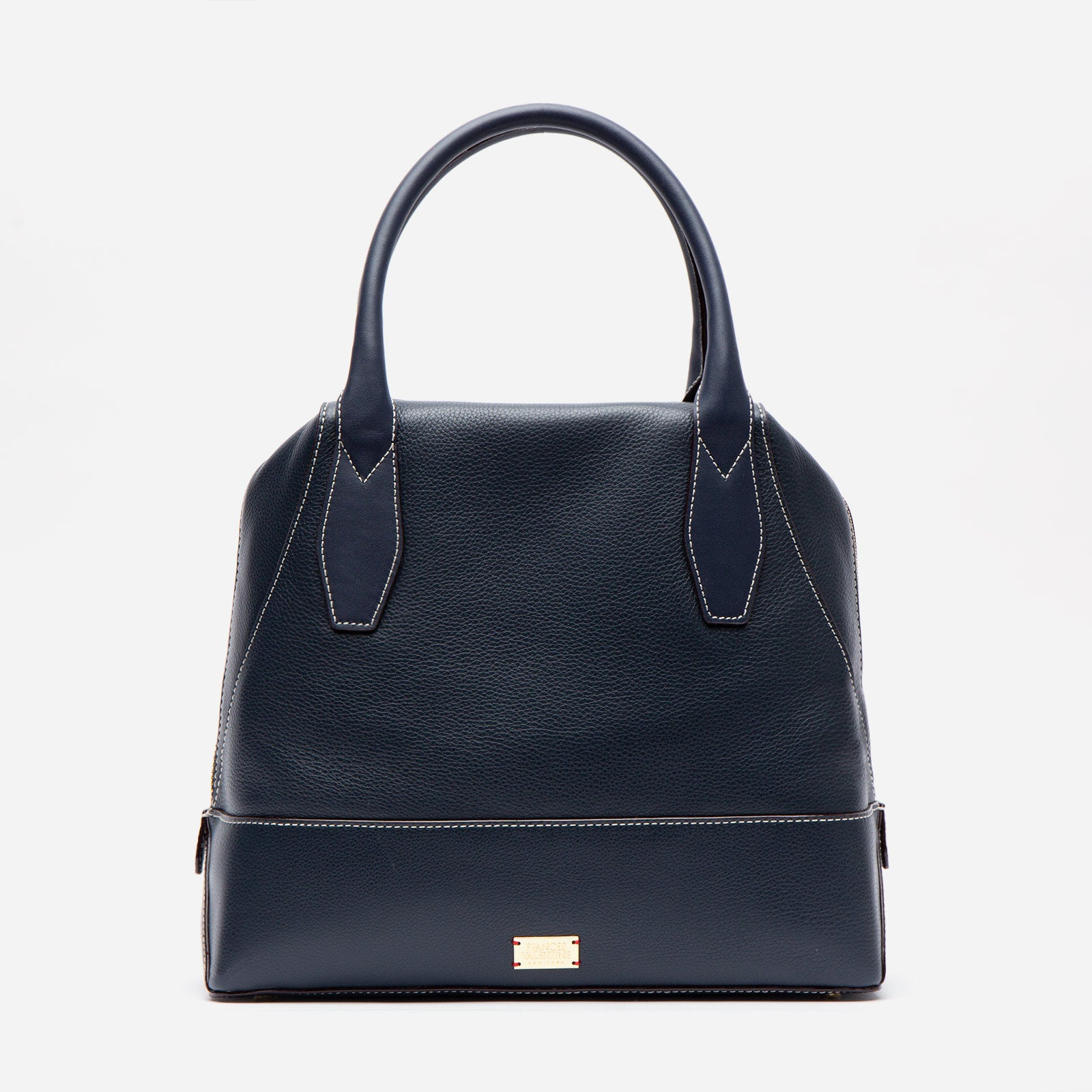 Abby Tote Tumbled Leather Navy - Frances Valentine