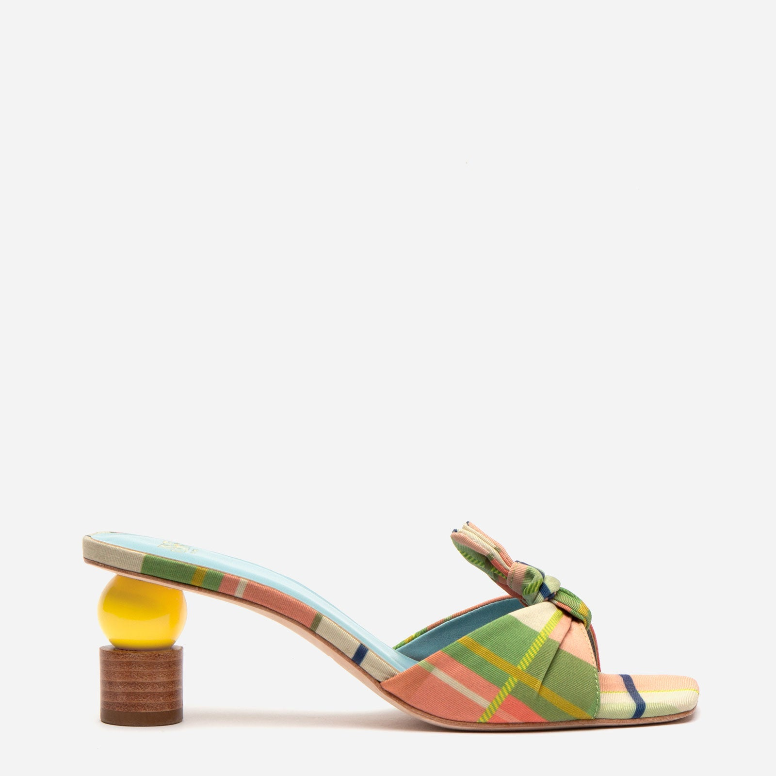 Amanda Mule Silk Faille Bermuda Plaid