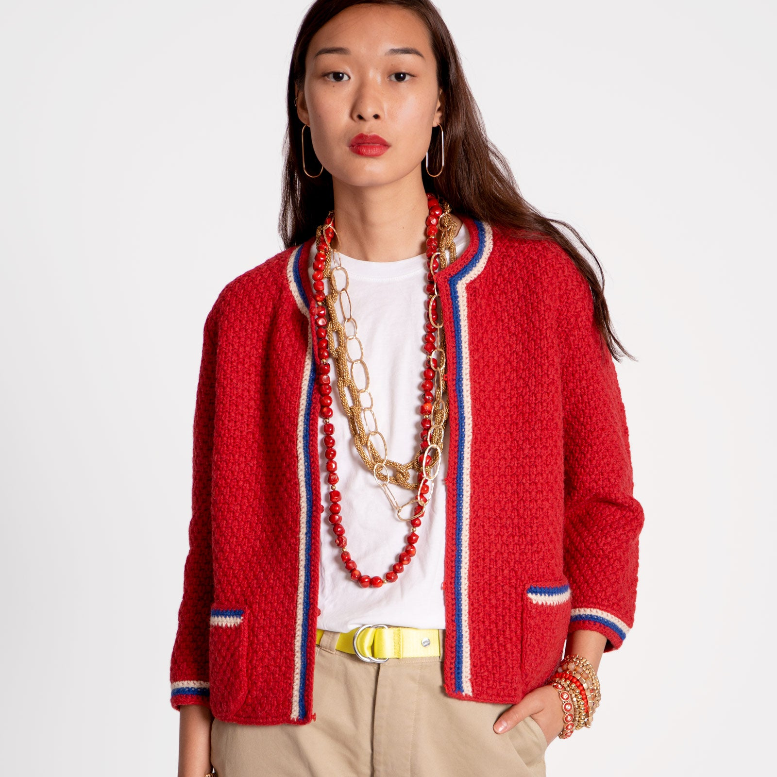 Angie Border Cardigan Red Blue - Frances Valentine