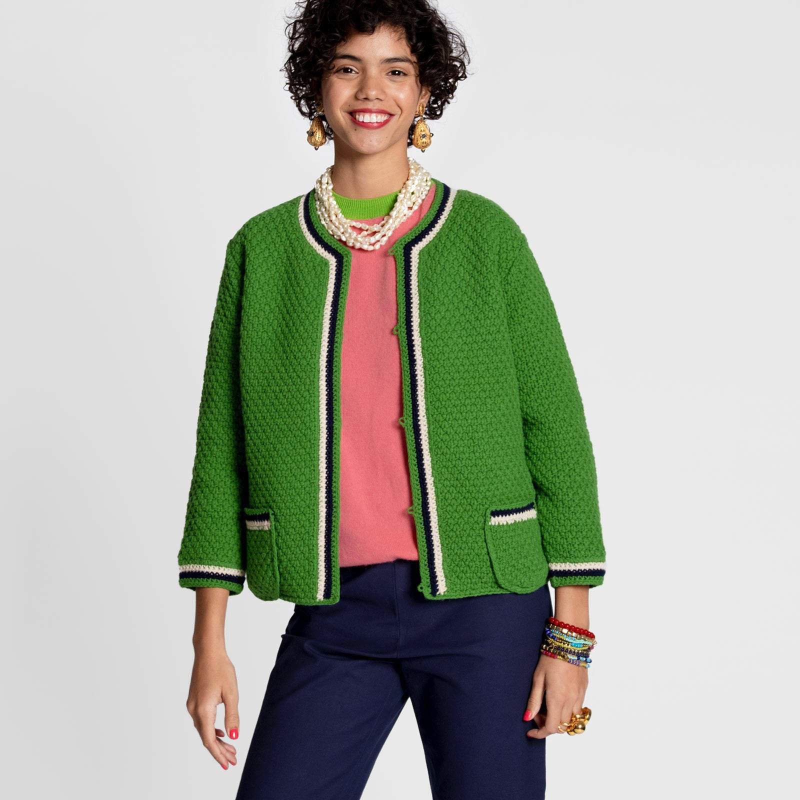 Angie Cardigan Kelly Green - Frances Valentine