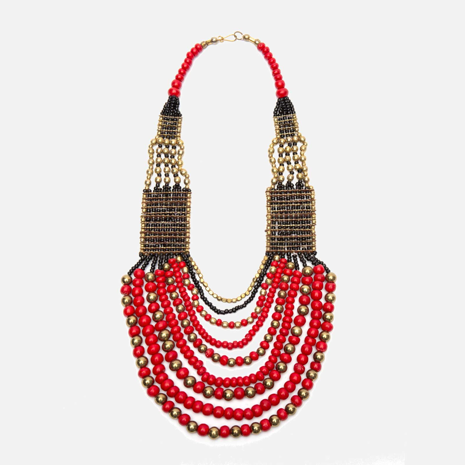 Gaya Multi Strand Bead Necklace Red
