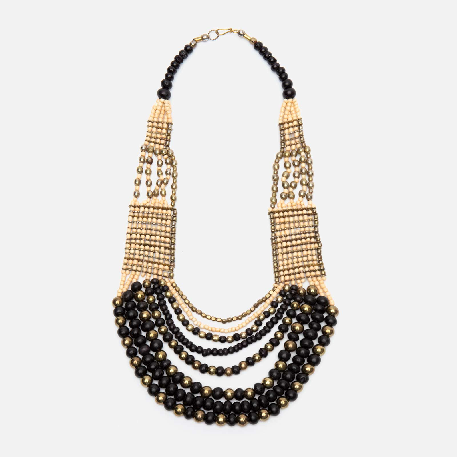 Gaya Multi Strand Bead Necklace Black