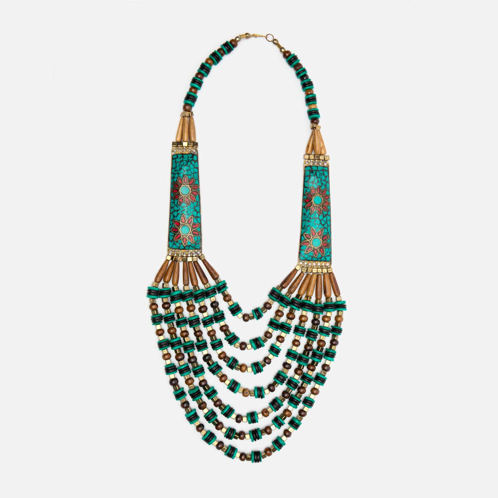 Bakaro Multi Strand Bead Necklace Teal - Frances Valentine