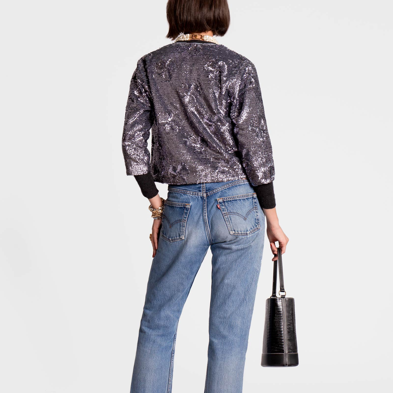 Sequin Flower Jacket Anthracite