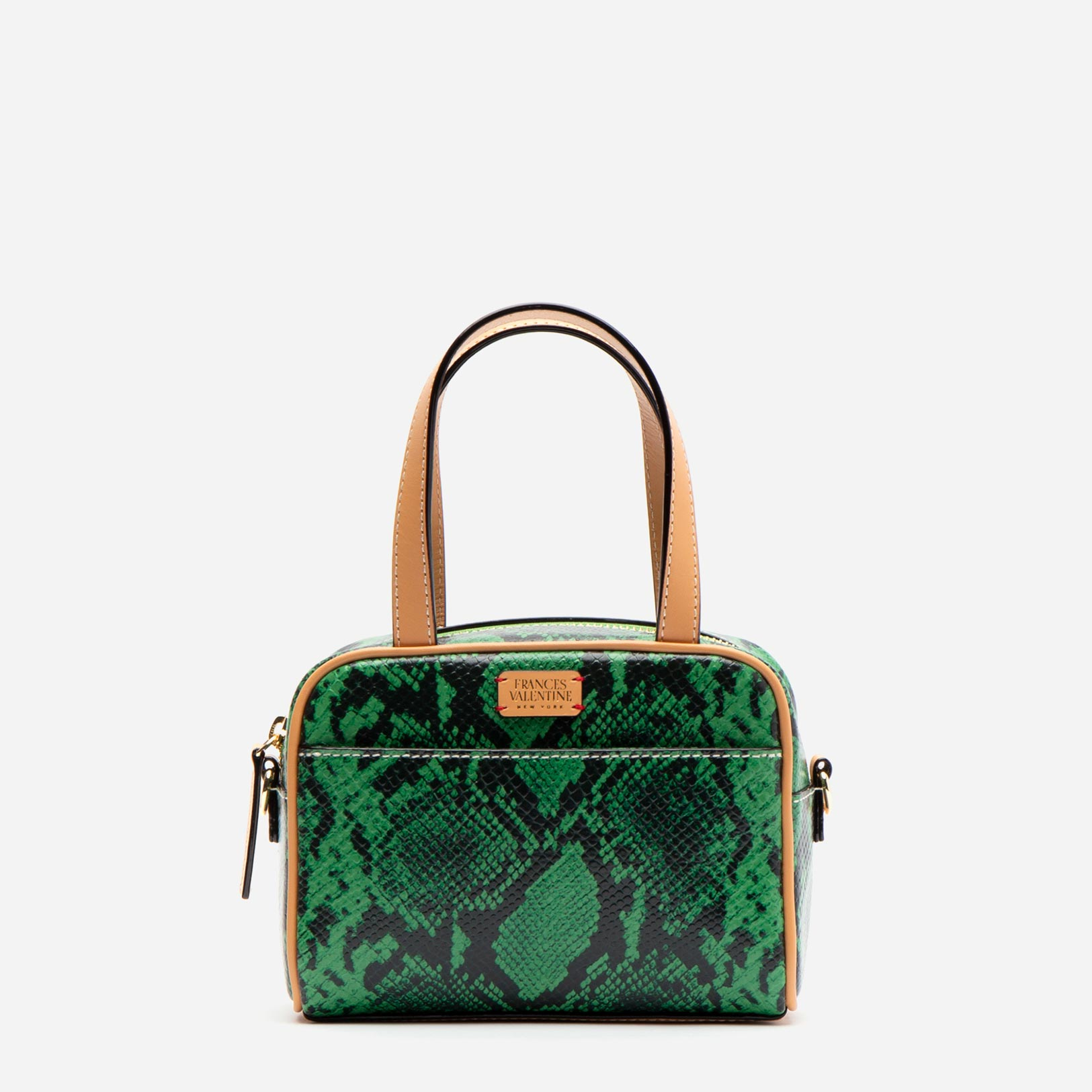 Baby Tote Snake Embossed Leather Green - Frances Valentine