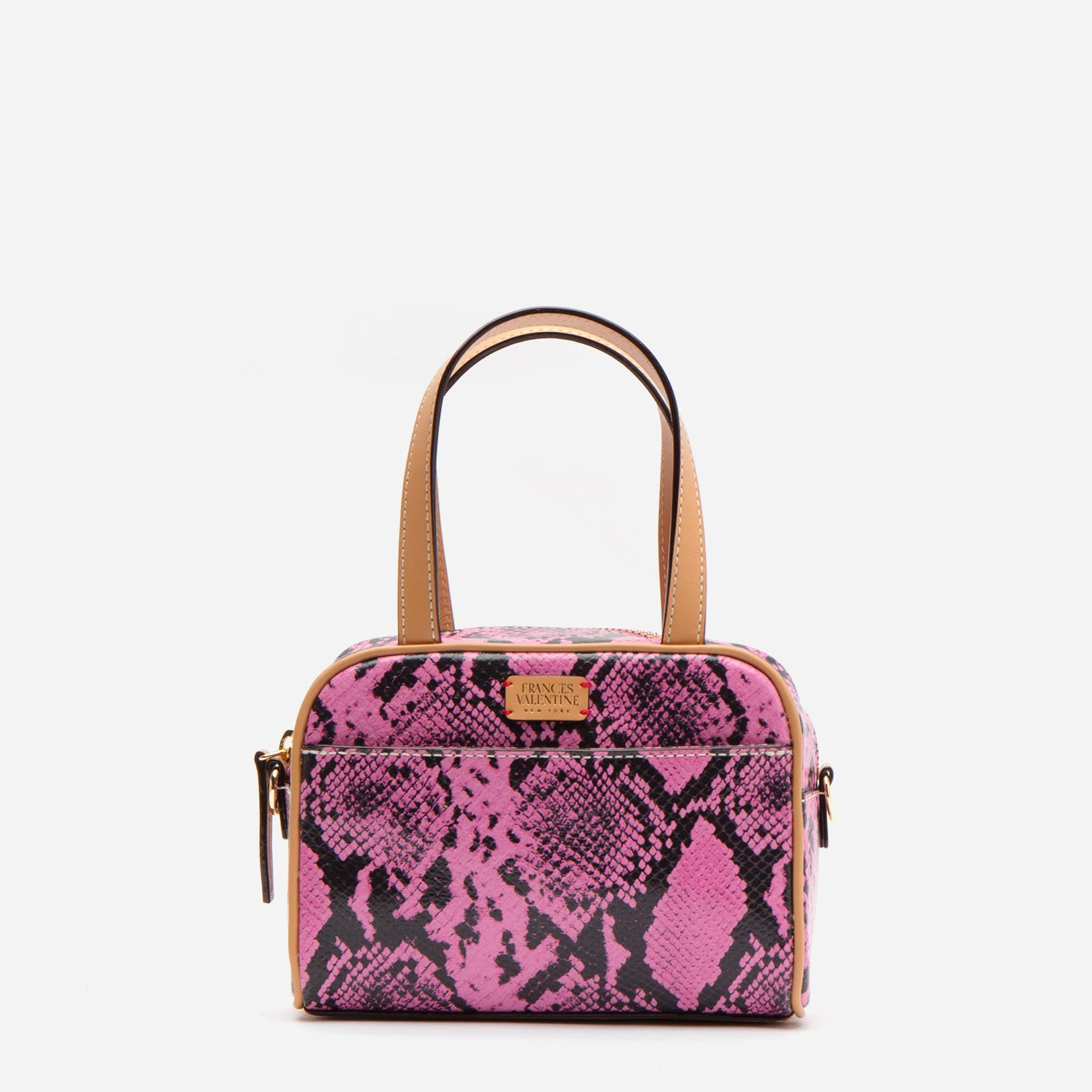 Baby Tote Snake Embossed Leather Pink - Frances Valentine