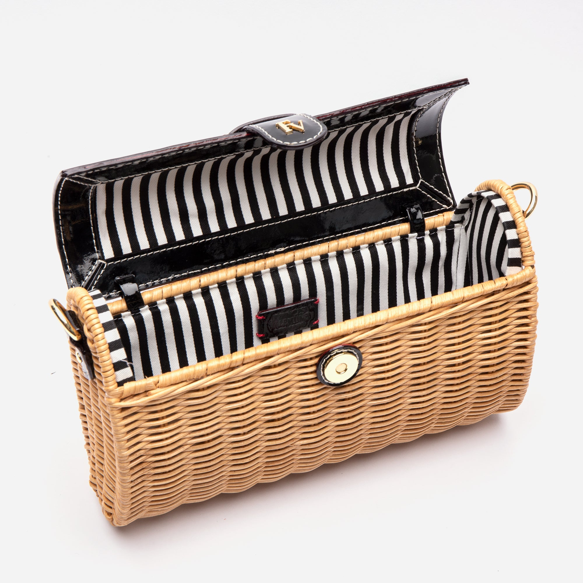 Betsy Wicker Basket Bag Black Patent
