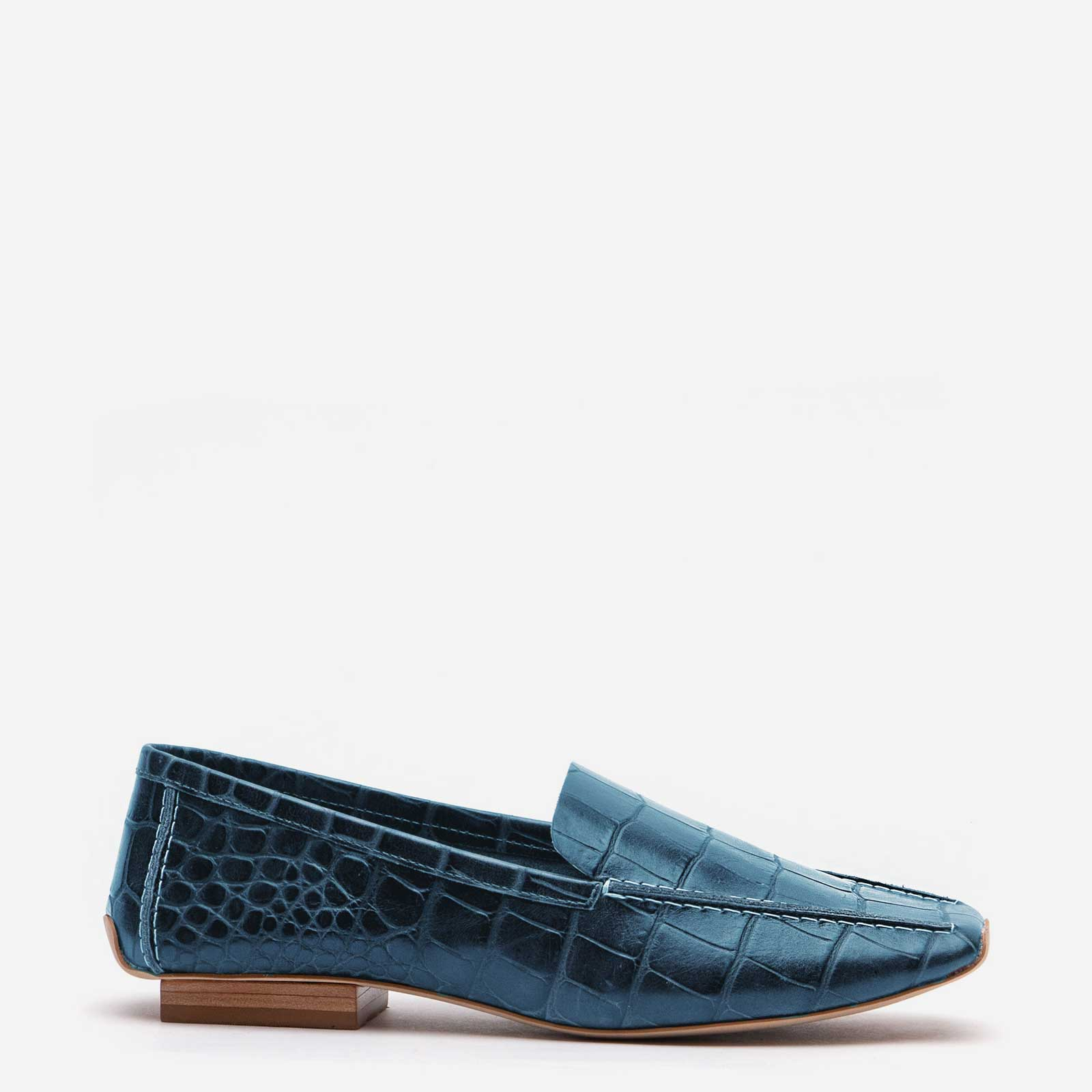 Elyce Loafer Croc Embossed Blue - Frances Valentine