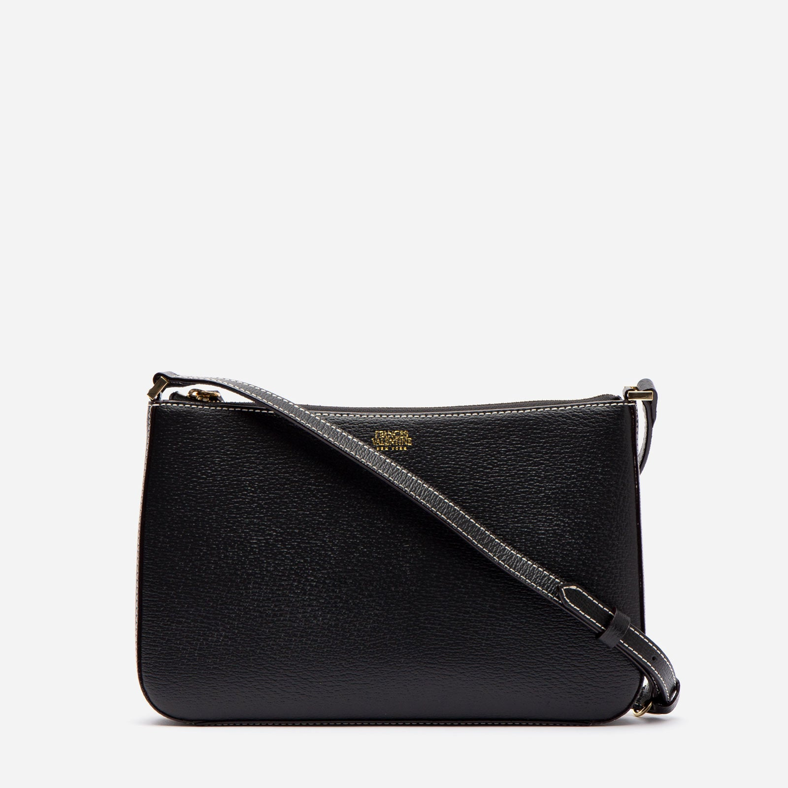 Poppy Crossbody Boarskin Leather Black - Frances Valentine