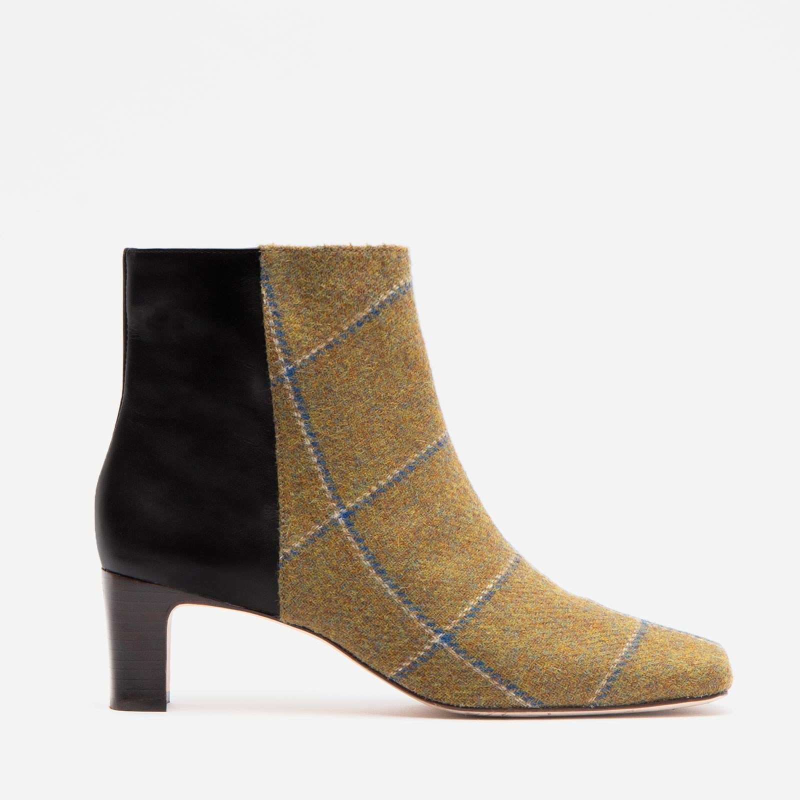 Eleanor Boot Wool Plaid Olive Navy - Frances Valentine