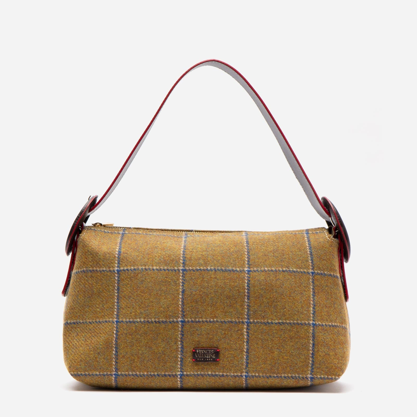 Buckle Hobo Wool Plaid Olive Navy - Frances Valentine