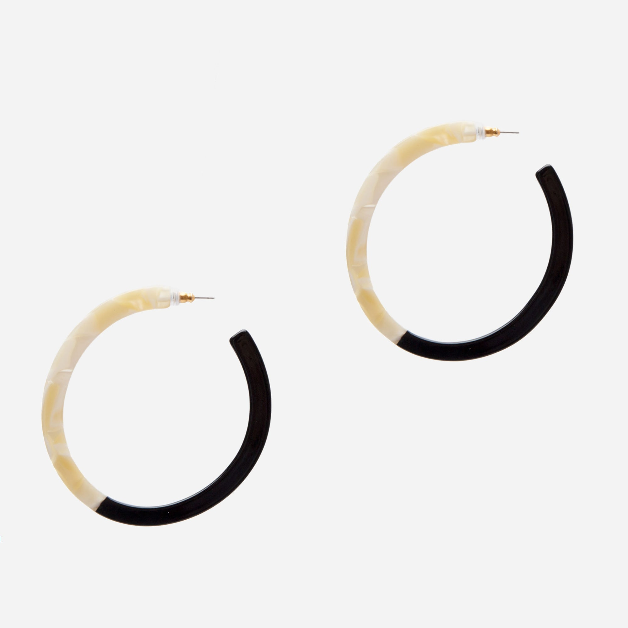 Two Tone Tortoise Earrings Black White